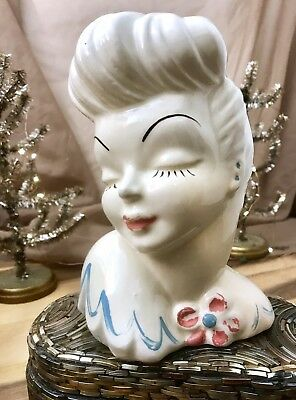 "Vtg 1940 Mid Century USA Porcelain Glamour Girl Vase Ladies Head ""Design No. 2"""