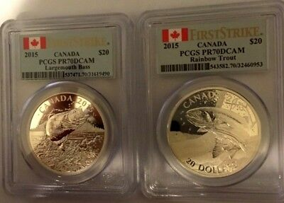 2015 Canada PCGS PR70 DCAM $20 Large Mouth Bass and Rainbow Trout ( Both Coins )