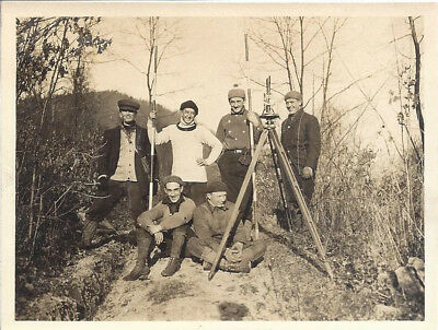 9 B&W Photos of Surveyors and instruments Ca 1920