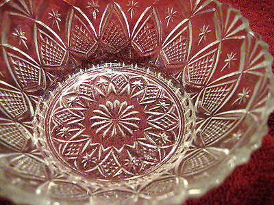Vintage Glassware Small Bowl Pineapple & Fans with Stars - Banded - Gorgeous!