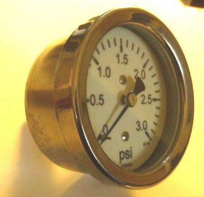 NEW Stainless Steel Body Pressure Gauge   0-3 Psi  Brass Contact Parts