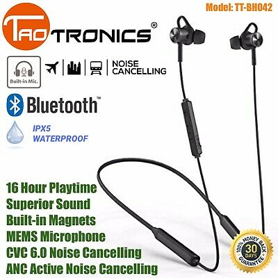 TaoTronics Neckband Wireless Bluetooth Headphones ANC Noise Cancelling TT-BH042