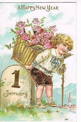 ANTIQUE EMBOSSED NEW YEAR Postcard BOY CARRYING GOLD BASKET OF ROSES ON HIS BACK