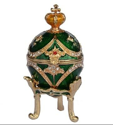 Small green crown faberge egg trinket boxes vintage home decor