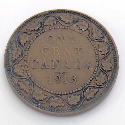 1913 Canada One 1 Large Cent Penny Circulated Canadian Copper Coin H925