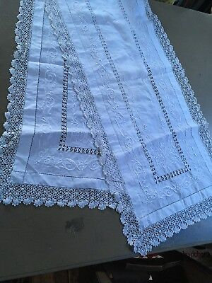 Beautiful Antique/Vintage Long Table Runner-Hand Crochet lace edging Embroidered