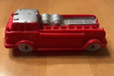 Vintage 1950's toy Auburn Rubber Co. A.F.D. 3 #614 Fire Truck Red White Wheels