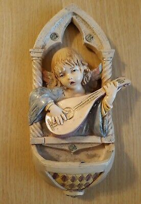 Vintage 1994 Depose Fontanini Italy Angel Holy Water Font Signed S. Simonelli