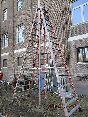 16' Werner Fiberglass Extension Trestle Ladder Extends to 26'