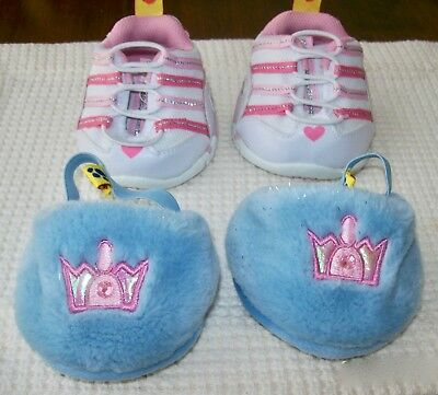 BUILD A BEAR, Skechers, Pink & White Sneakers & Princess, Blue & Pink Slippers