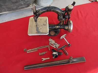 Vintage WILLCOX and GIBBS Chain Stitch Sewing Machine with Extra Parts (1381)