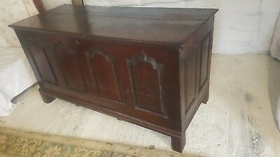 Antique 15th 16th Century Dark Oak Church Coffer or Chest