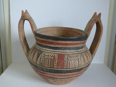 LARGE ANCIENT GREEK DAUNIAN KRATER WITH HORN SHAPED HANDLES c. 6th cent BC