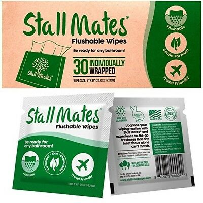 Stall Mates: Flushable, individually wrapped wipes for travel. (30)