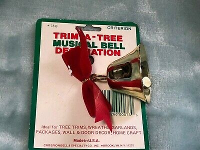 VTG Christmas Bell ornament Criterion made in USA..new on package Gold red bow