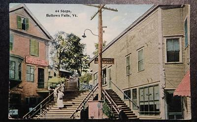 1912 Postcard-44 Steps, Bellows Falls, Vermont