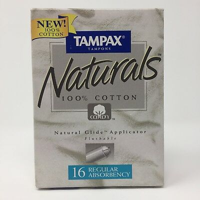 Vintage Tampax Naturals 100% Cotton Regular Absorbancy Tampons 16ct 1995
