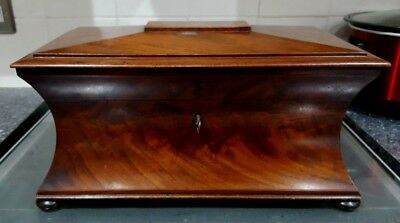 Regency c1820 Sarcophagus Mahogany Tea Caddy With Twin  Caddies + Mixing Bowl