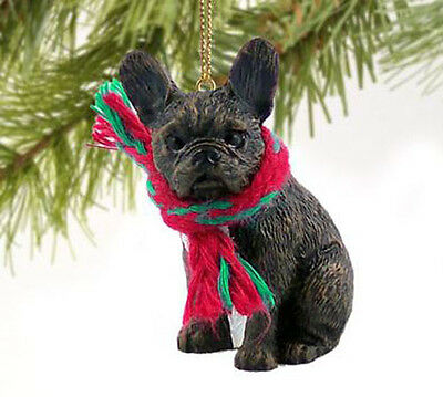 FRENCHIE FRENCH BULLDOG DOG CHRISTMAS ORNAMENT HOLIDAY Figurine Scarf Gift