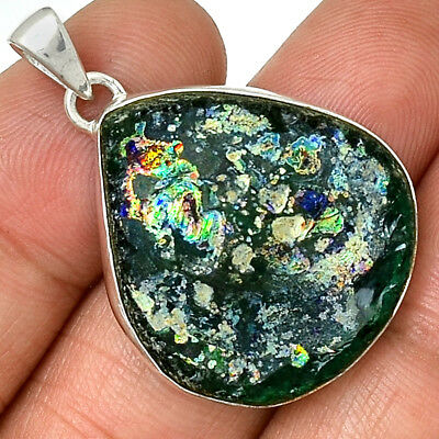Ancient Roman Glass 925 Sterling Silver Pendant Jewelry AP18228