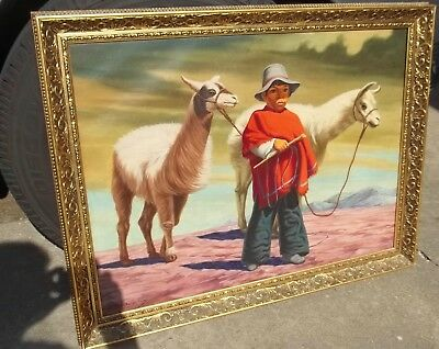 Vintage Latin South American Painting Boy & Alpacas Animals Signed