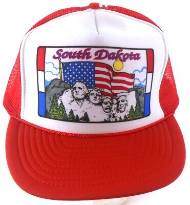 South Dakota Mount Rushmore Red White Mesh Trucker Snapback Cap Hat