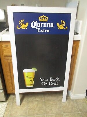 Pre Owned Corona Extra Beer Bar Man Cave A-Frame 1 Sided Wall Sign Chalkboard