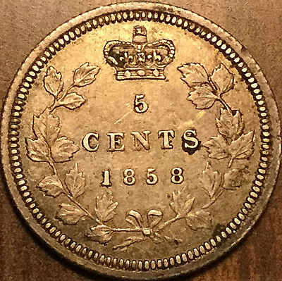 1858 CANADA SILVER 5 CENTS COIN - Small date variety - Excellent coin!