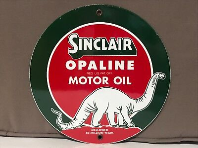 9 inch SINCLAIR opaline Motor Oil ROUND porcelain enamel sign gas gasoline