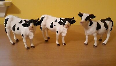 3 Vintage Terra By Battat Plastic Cow Figurine Toy