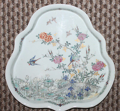 "A Large 11"" Chinese Cantonese Famille Rose Lotus Birds Blossoms Polygonal Tray"