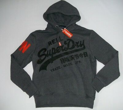 SUPERDRY Black Grit Vintage Logo 1st Pullover Hooded Sweatshirt Mens Sz XXL  NEW 60f809280e