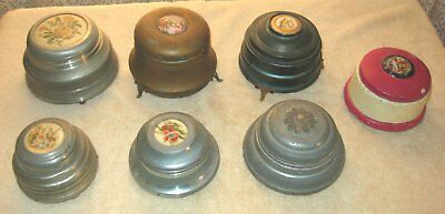 LOT OF 7 VINTAGE 1940's POWDER PUFF MUSIC BOXES. ALL OF THEM WORK