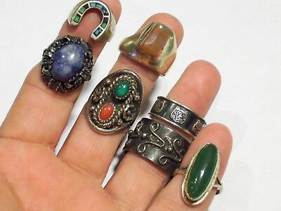 Lot Vintage Sterling Silver Rings Navajo Jade  Coral Turquoise Unusual
