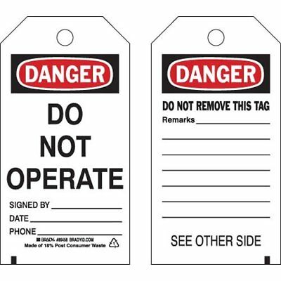 "BRADY Polyester Danger Tag, 5-3/4"" H x 3"" W, Pack of 10, Product #86458"