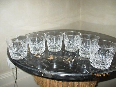 stunning set of 6 heavy crystal tumblers ,star base H8cm D 8cm