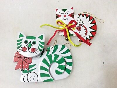 Vintage Red White Green Wood Kitty Cat Christmas Ornaments Kurt Adler 1986