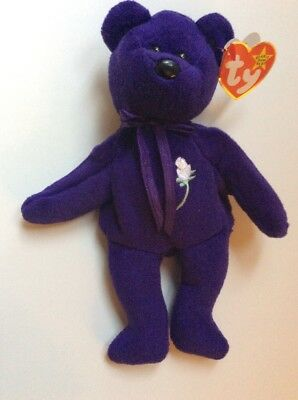 Princess Diana Ty Beanie Baby 1997 No Space Spacing Purple White Rose P.V.C.