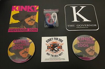 Kinky Friedman For Governor 2006 Bumper Sticker, Button & Wristband Set