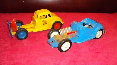 """2 Nosco Vintage 1950S """"vizy Vee"""" Stock Car And Hot Rod Toy Car Lot Parts Restore"""