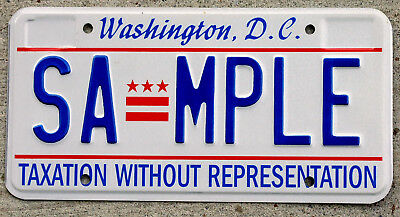 """Washington D.C. License Plate with it's """"Taxation Without Representation"""" SAMPLE"""