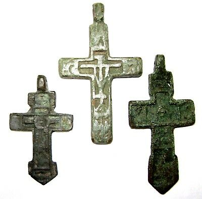 Ancient lot of 3 bronze pectoral Believer crosses Middle Ages.