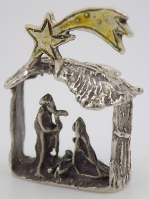 Vintage Solid Silver Italian Made Christmas Nativity Miniature, Figurine, Stamps