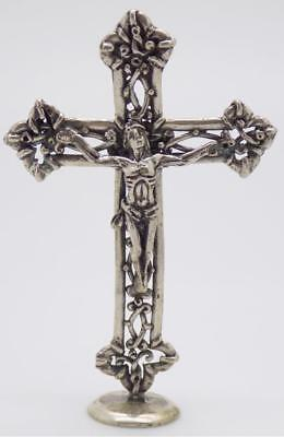 Vintage Solid Silver Italian Made Holy Cross Figurine, Miniature, Stamped