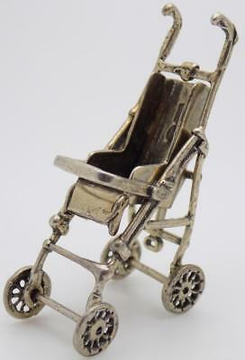 Vintage Solid Silver Italian Made Stroller Miniature, Figurine, Stamped