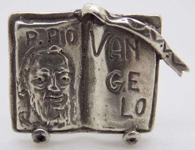 Vintage Solid Silver Italian Made St. Padre Pio & Gospel Miniature, Stamped
