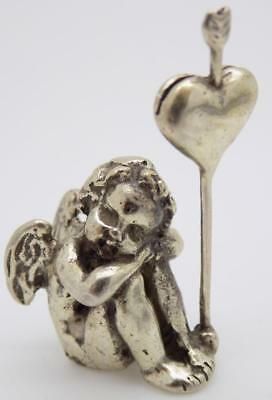 Vintage Solid Silver Italian Made Angel Cupid Photo Holder Figurine, Stamped