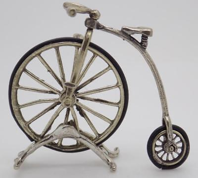 Vintage Solid Silver Italian Made Old Bicycle Miniature, Large, Figurine, Stamp*