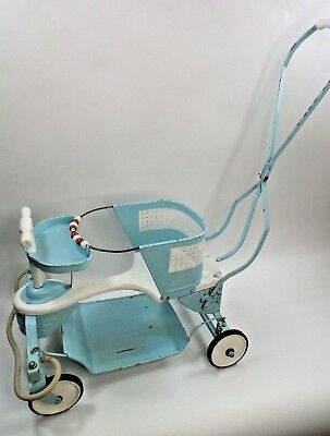 Vintage Taylor Tot Light Blue & White Child's Metal Buggy Stroller