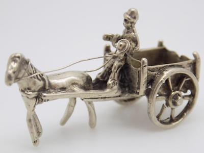 Vintage Solid Silver Italian Made Country Carriage Miniature, Figurine, Stamped